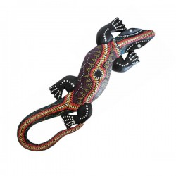 "Gecko (30 cm) ""Aborigine Style"" - Braun/Rot"