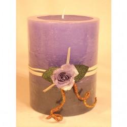 """Duft- und Dekokerze mit Blume """"lila Rose"""""""